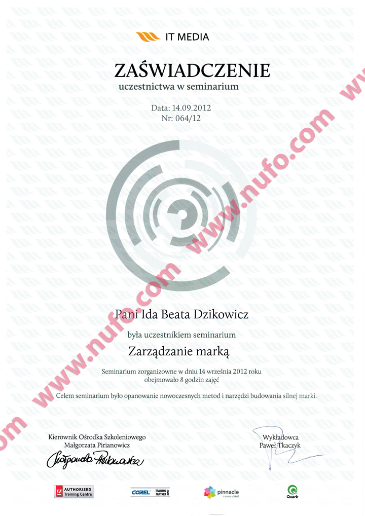 Certificate of Attendance at the Brand Management Seminar