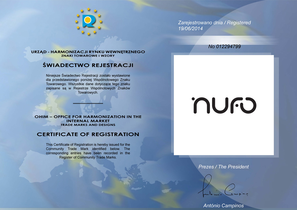 Certificate of Nufo Registration